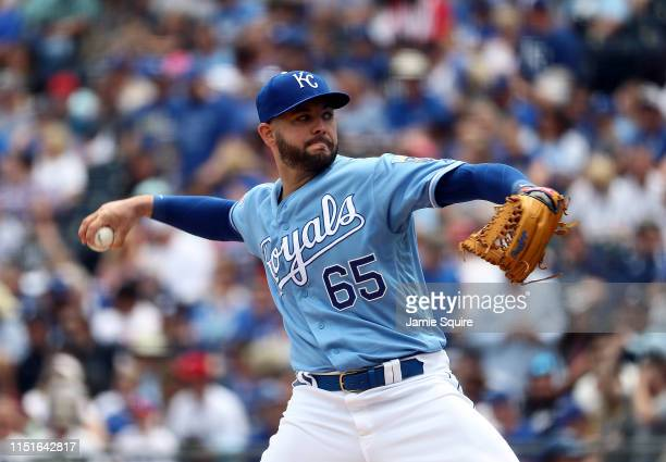 Starting pitcher Jakob Junis of the Kansas City Royals pitches during the 1st inning of the game against the New York Yankees at Kauffman Stadium on...