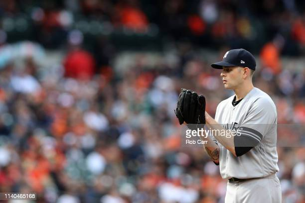 Starting pitcher James Paxton of the New York Yankees throws to a Baltimore Orioles batter in the fifth inning at Oriole Park at Camden Yards on...
