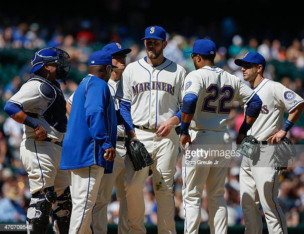 Starting pitcher James Paxton of the Seattle Mariners is removed from the game by manager Lloyd McClendon against the Texas Rangers at Safeco Field...