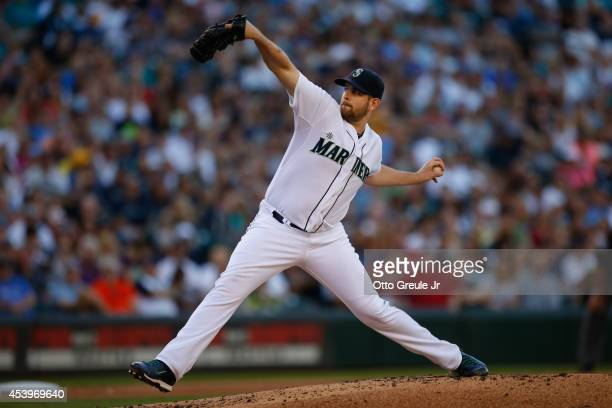 Starting pitcher James Paxton of the Seattle Mariners pitches against the Chicago White Sox at Safeco Field on August 9 2014 in Seattle Washington