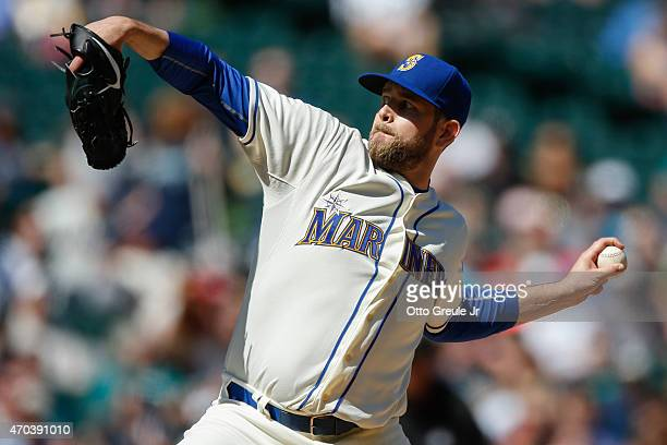 Starting pitcher James Paxton of the Seattle Mariners pitches against the Texas Rangers in the third inning at Safeco Field on April 19 2015 in...