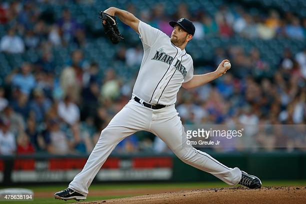 Starting pitcher James Paxton of the Seattle Mariners pitches against the Cleveland Indians at Safeco Field on May 28 2015 in Seattle Washington