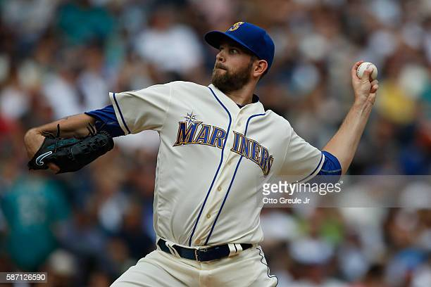 Starting pitcher James Paxton of the Seattle Mariners pitches against the Los Angeles Angels of Anaheim in the first inning at Safeco Field on August...