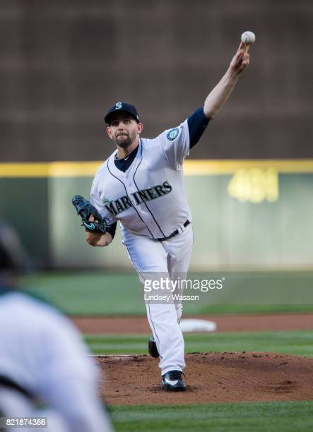 Starting pitcher James Paxton of the Seattle Mariners throws against the Boston Red Sox in the first inning at Safeco Field on July 24 2017 in...