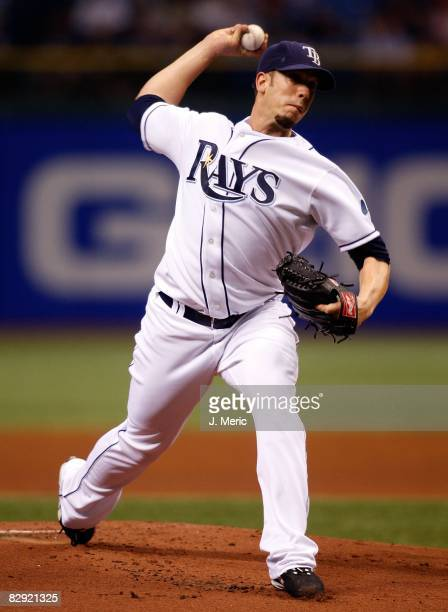Starting pitcher James Shields of the Tampa Bay Rays pitches against the Minnesota Twins during the game on September 18 2008 at Tropicana Field in...