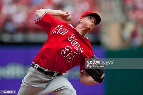 Starting pitcher Jared Weaver of the Los Angeles Angels of Anaheim throws against the St Louis Cardinals at Busch Stadium on May 23 2010 in St Louis...