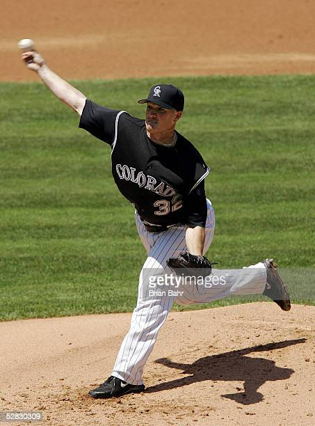 Starting pitcher Jason Jennings of the Colorado Rockies throws against the Arizona Diamondbacks on May 15 2005 at Coors Field in Denver Colorado...