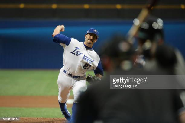 Starting Pitcher Jason Marquis of Israel throws in the top of the first inning during the World Baseball Classic Pool A Game Five between Netherlands...