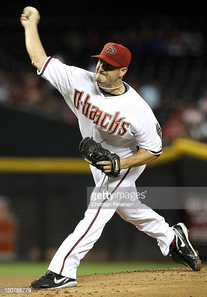 Starting pitcher Jason Marquis of the Arizona Diamondbacks pitches against the Houston Astros during the Major League Baseball game at Chase Field on...