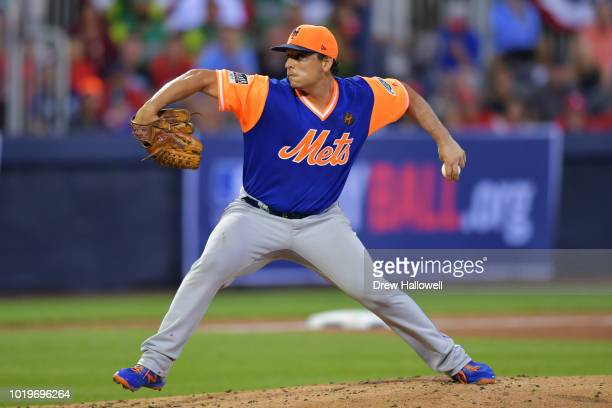 Starting pitcher Jason Vargas of the New York Mets delivers a pitch in the third inning against the Philadelphia Phillies during the MLB Little...