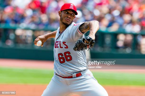 Starting pitcher JC Ramirez of the Los Angeles Angels of Anaheim pitches during the first inning against the Cleveland Indians at Progressive Field...