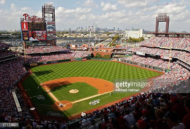 Starting pitcher Jeff Francis of the Colorado Rockies pitches to Jimmy Rollins of the Philadelphia Phillies in the first inning of Game One of the...