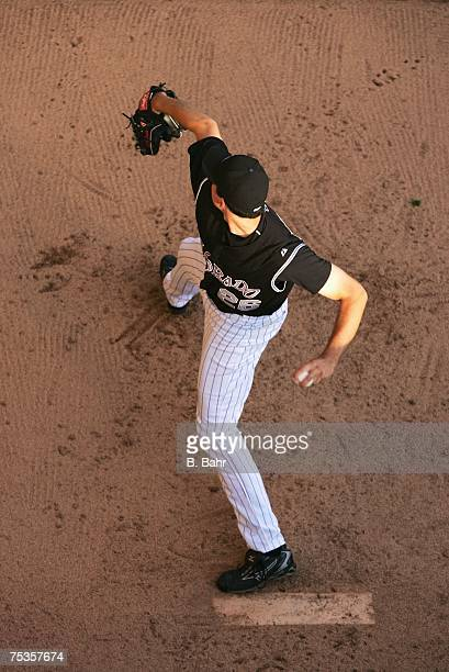 Starting pitcher Jeff Francis of the Colorado Rockies warms up in the bullpen before a game against the New York Yankees on June 20 2007 at Coors...