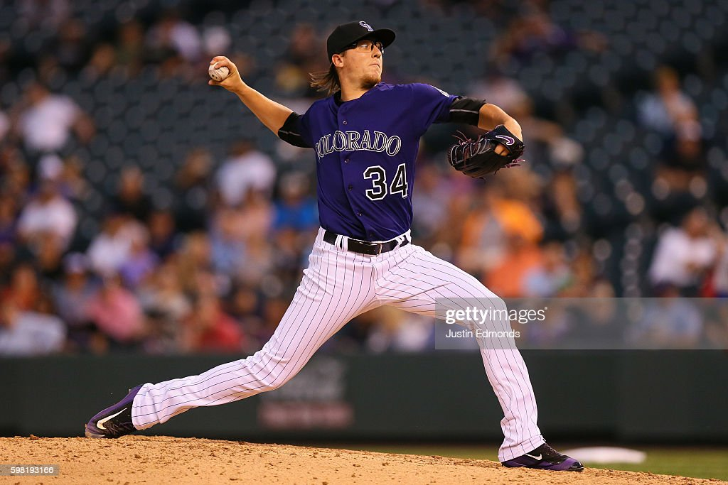 Starting pitcher Jeff Hoffman #34 of the Colorado Rockies delivers to home plate during the fourth inning against the Los Angeles Dodgers at Coors Field on August 31, 2016 in Denver, Colorado. The Dodgers defeated the Rockies 10-8 to avoid the series sweep.