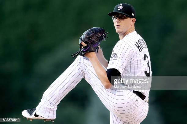 Starting pitcher Jeff Hoffman of the Colorado Rockies throws in the first inning against the New York Mets at Coors Field on August 1 2017 in Denver...
