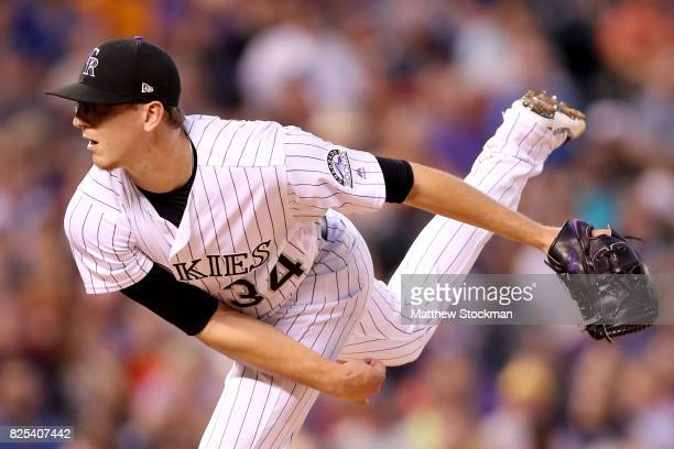 Starting pitcher Jeff Hoffman of the Colorado Rockies throws in the sixth inning against the New York Mets at Coors Field on August 1 2017 in Denver...