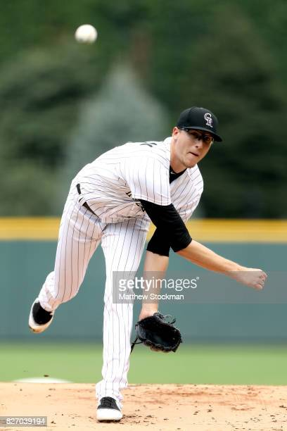 Starting pitcher Jeff Hoffman of the Colorado Rockies throws in the first inning against the Philadelphia Phillies at Coors Field on August 6 2017 in...
