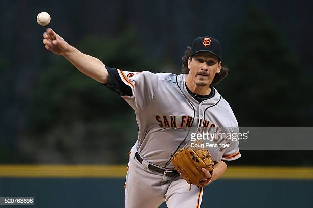 Starting pitcher Jeff Samardzija of the San Francisco Giants delivers against the Colorado Rockies as he earned the win in the Giants 72 victory at...