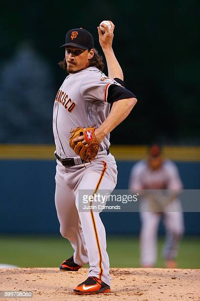 Starting pitcher Jeff Samardzija of the San Francisco Giants delivers to home plate during the first inning against the Colorado Rockies at Coors...