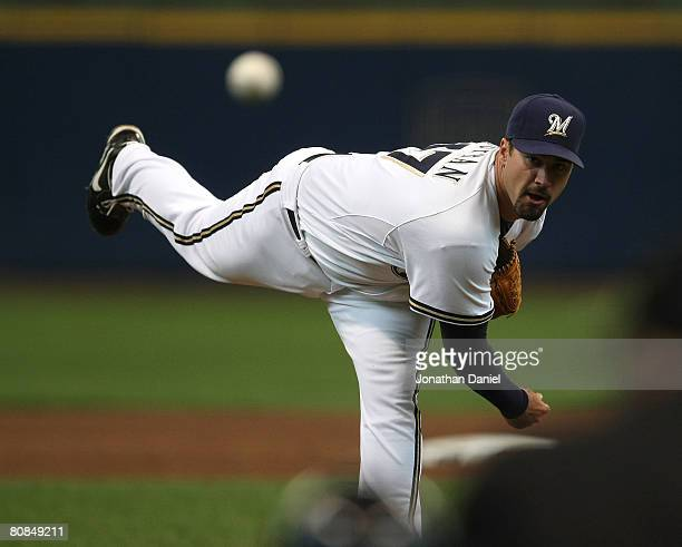 Starting pitcher Jeff Suppan of the Milwaukee Brewers watches his throw against the Philadelphia Phillies on April 24, 2008 at Miller Park in...