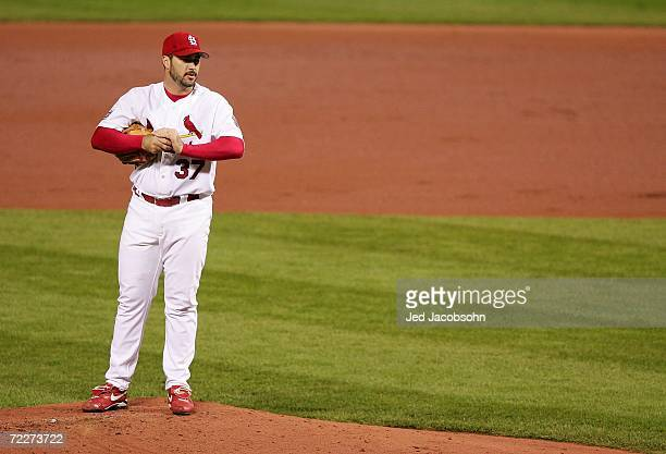 Starting pitcher Jeff Suppan of the St Louis Cardinals stands on the mound after giving up a solo home run to Sean Casey of the Detroit Tigers in the...