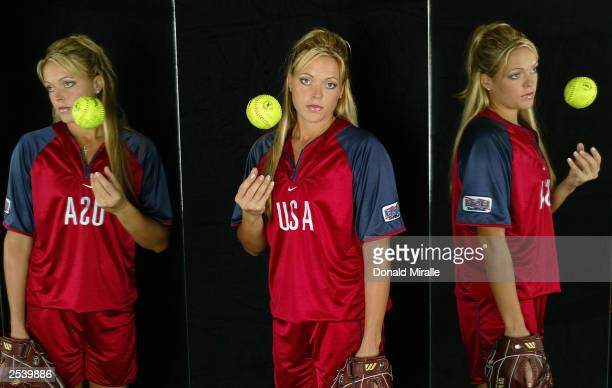 Starting pitcher Jennie Finch poses for a portrait during the USA Women's Softball Media Summit on September 16, 2003 at the Arco Olympic Training...