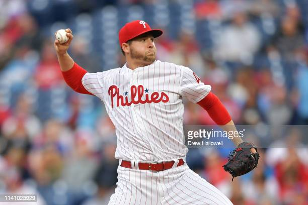 Starting pitcher Jerad Eickhoff of the Philadelphia Phillies delivers a pitch in the first inning against the Washington Nationals at Citizens Bank...