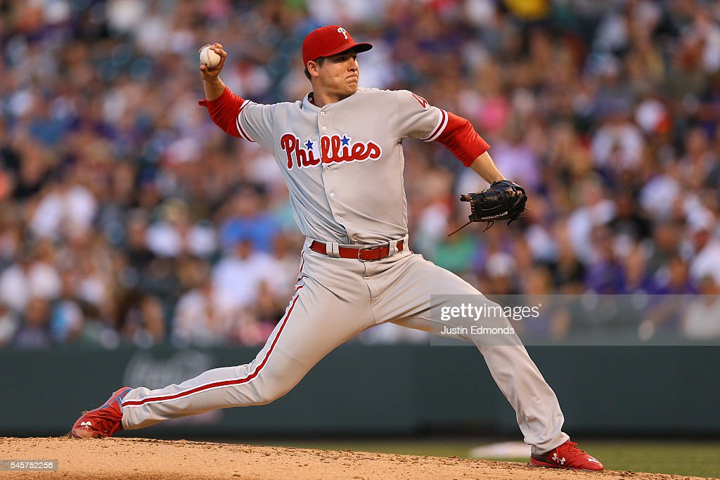 Starting pitcher Jerad Eickhoff #48 of the Philadelphia Phillies delivers to home plate during the fifth inning against the Colorado Rockies at Coors Field on July 9, 2016 in Denver, Colorado.