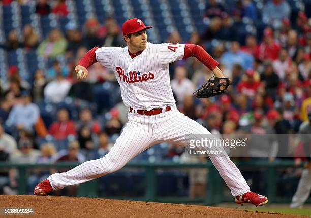 Starting pitcher Jerad Eickhoff of the Philadelphia Phillies throws a pitch in the first inning during a game against the Cleveland Indians at...