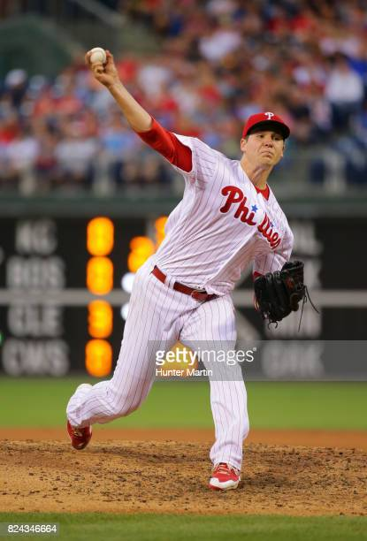 Starting pitcher Jerad Eickhoff of the Philadelphia Phillies throws a pitch in the fourth inning during a game against the Atlanta Braves at Citizens...