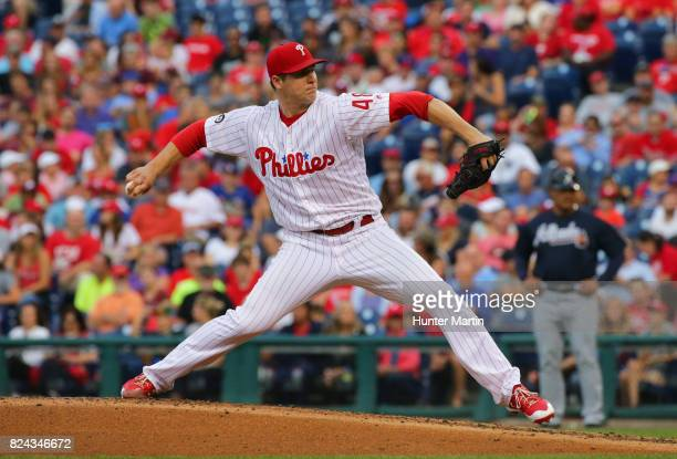 Starting pitcher Jerad Eickhoff of the Philadelphia Phillies throws a pitch in the second inning during a game against the Atlanta Braves at Citizens...