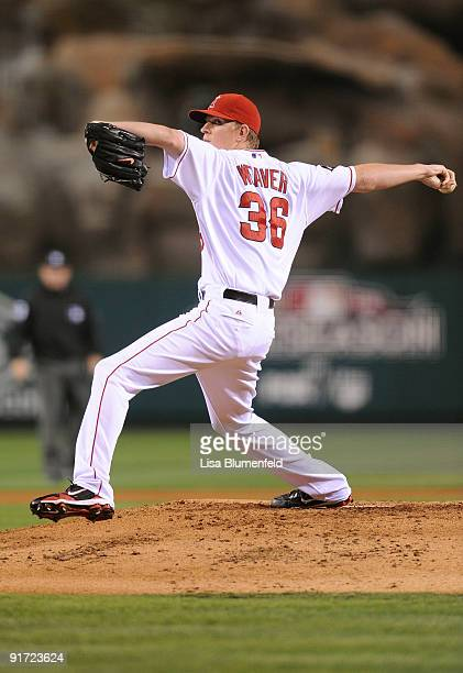 Starting pitcher Jered Weaver of the Los Angeles Angels of Anaheim delivers a pitch against the Boston Red Sox during Game Two of the ALDS during the...