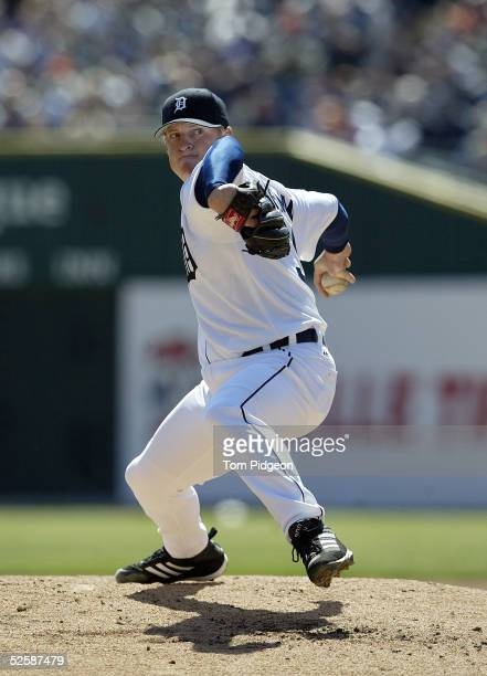 Starting pitcher Jeremy Bonderman of the Detroit Tigers delivers in the second inning against the Kansas City Royals at Comerica Park on April 4 2005...