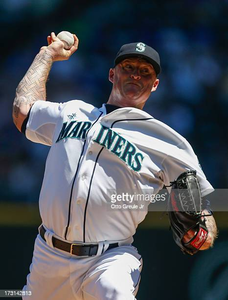 Starting pitcher Jeremy Bonderman of the Seattle Mariners pitches against the Chicago Cubs at Safeco Field on June 30 2013 in Seattle Washington