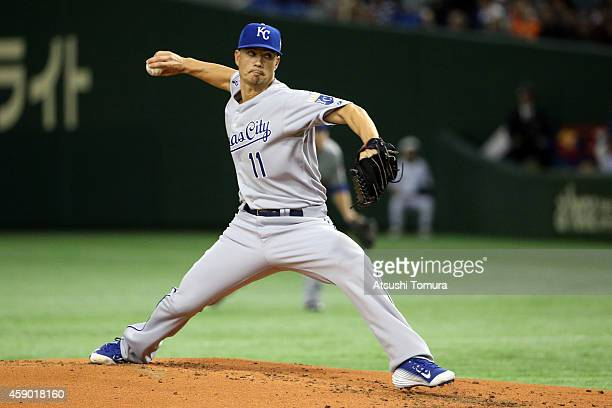 Starting pitcher Jeremy Guthrie of the Kansas City Royals pitches in the first inning during the game three of Samurai Japan and MLB All Stars at...