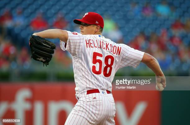 Starting pitcher Jeremy Hellickson of the Philadelphia Phillies throws a pitch in the first inning during a game against the St Louis Cardinals at...