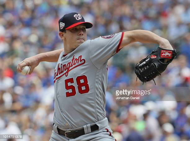 Starting pitcher Jeremy Hellickson of the Washington Nationals delivers the ball against the Chicago Cubs at Wrigley Field on August 10 2018 in...