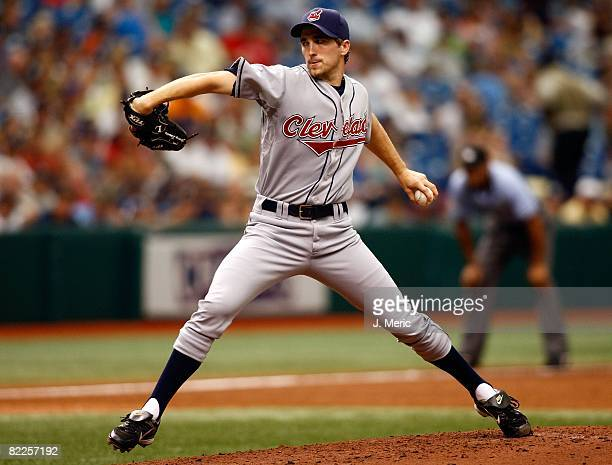 Starting pitcher Jeremy Sowers of the Cleveland Indians pitches against the Tampa Bay Rays during the game on August 6, 2008 at Tropicana Field in...