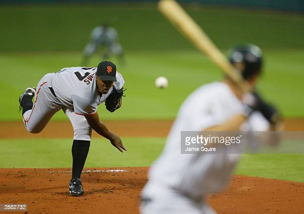 Starting pitcher Jerome Williams of the Houston Astros pitches to Jeff Kent of the San Francisco Giants during the game on September 22 2003 at...