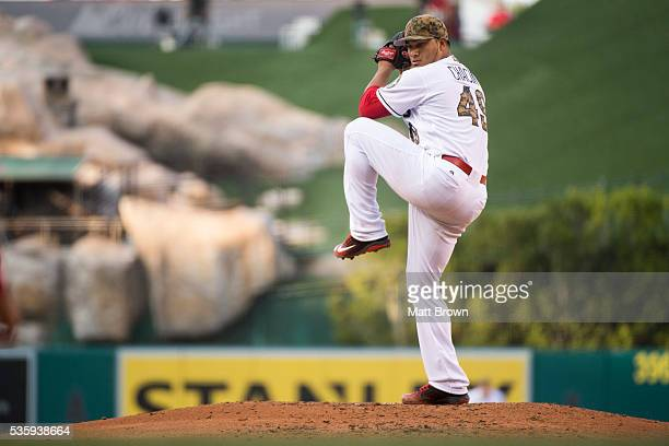 Starting pitcher Jhoulys Chacin of the Los Angeles Angels of Anaheim pitches during the third inning of the game against the Detroit Tigers at Angel...