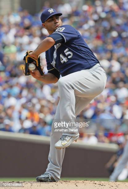Starting pitcher Jhoulys Chacin of the Milwaukee Brewers delivers the ball against the Chicago Cubs at Wrigley Field on August 14 2018 in Chicago...