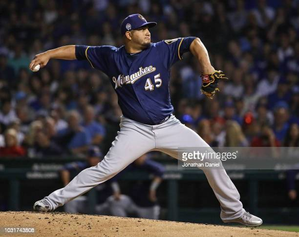 Starting pitcher Jhoulys Chacin of the Milwaukee Brewers delivers the ball against the Chicago Cubs at Wrigley Field on September 11 2018 in Chicago...