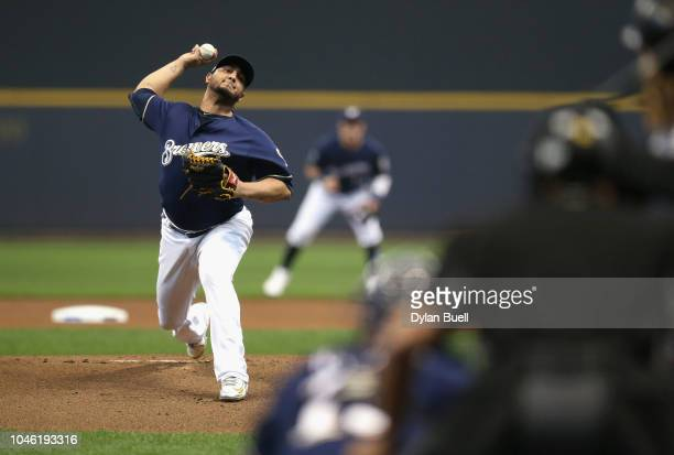 Starting pitcher Jhoulys Chacin of the Milwaukee Brewers throws in the first inning of Game Two of the National League Division Series against the...