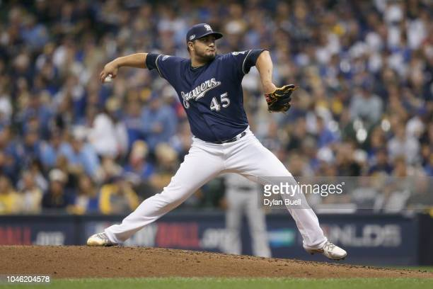 Starting pitcher Jhoulys Chacin of the Milwaukee Brewers throws in the fourth inning of Game Two of the National League Division Series against the...