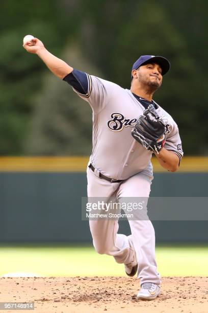 Starting pitcher Jhoulys Chacin of the Milwaukee Brewers throws in the first inning against the Colorado Rockies at Coors Field on May 10 2018 in...