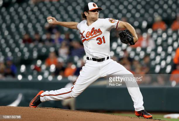 Starting pitcher Jimmy Yacabonis of the Baltimore Orioles throws to a Toronto Blue Jays batter in the first inning at Oriole Park at Camden Yards on...
