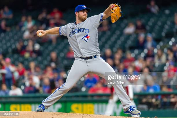 Starting pitcher Joe Biagini of the Toronto Blue Jays pitches during the first inning against the Cleveland Indians at Progressive Field on May 3...