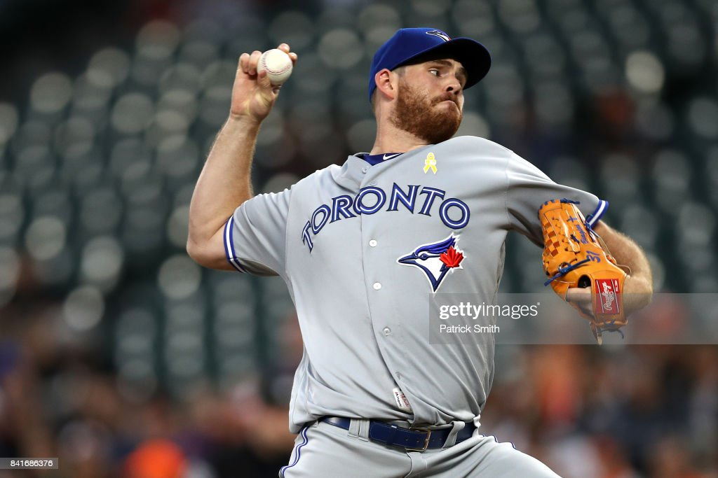 Starting pitcher Joe Biagini #31 of the Toronto Blue Jays works the first inning against the Baltimore Orioles Oriole Park at Camden Yards on September 1, 2017 in Baltimore, Maryland.