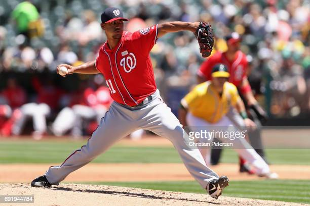 Starting pitcher Joe Ross of the Washington Nationals pitches against the Oakland Athletics during the second inning of the MLB game at Oakland...