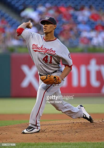 Starting pitcher Joe Ross of the Washington Nationals throws a pitch in the first inning during a game against the Philadelphia Phillies at Citizens...